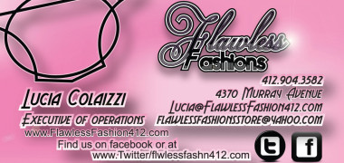 Flawless Fashions Executive Business Card Back – Created in Photoshop