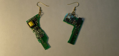 Voltaic Hammer Earrings – Printed Circuit – Gold Hooks